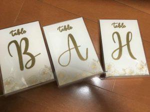 テーブルナンバーB、A、H