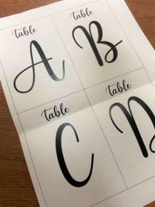 テーブルナンバーのデザイン