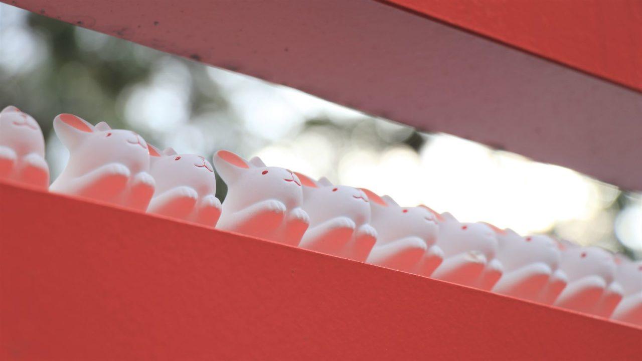 白いうさぎの置物がたくさん並んでいる