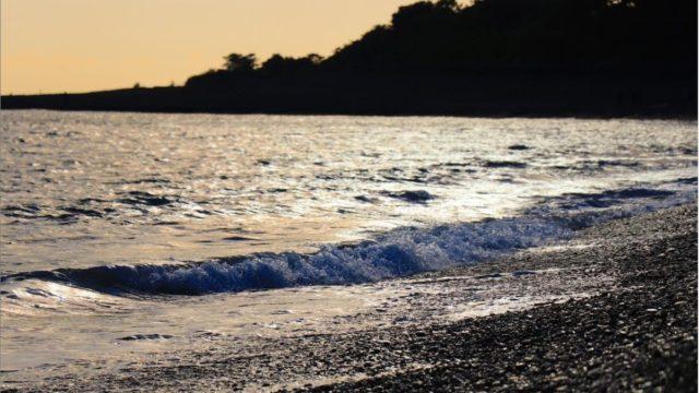 夕暮れの浜辺に波が立っている