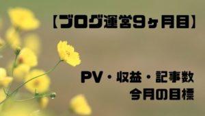 ブログ運営9ヶ月目のPV・収益・記事数